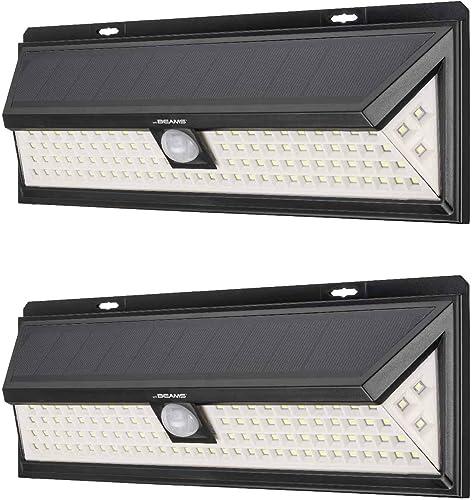 Mr Beams Solar Wedge Plus 102 LED Security Outdoor Motion Sensor Wall Light, 2 Pack, Black