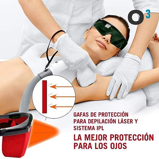 verde 15PNOHIM7726NKHEAJ con una piccola custodia da indossare durante la depilazione al laser e durante la manipolazione di tecniche IPL Ekupuz Occhiali di protezione IPL colore: Rosso
