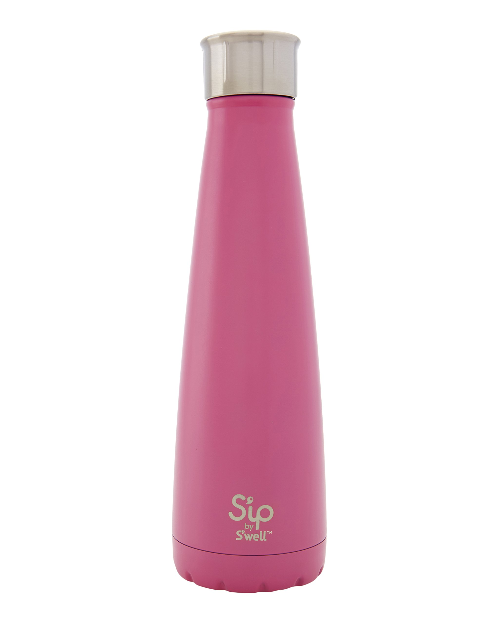 S'ip by S'well Vacuum Insulated Stainless Steel Water Bottle, Double Wall, 15 oz, Bubblegum Pink