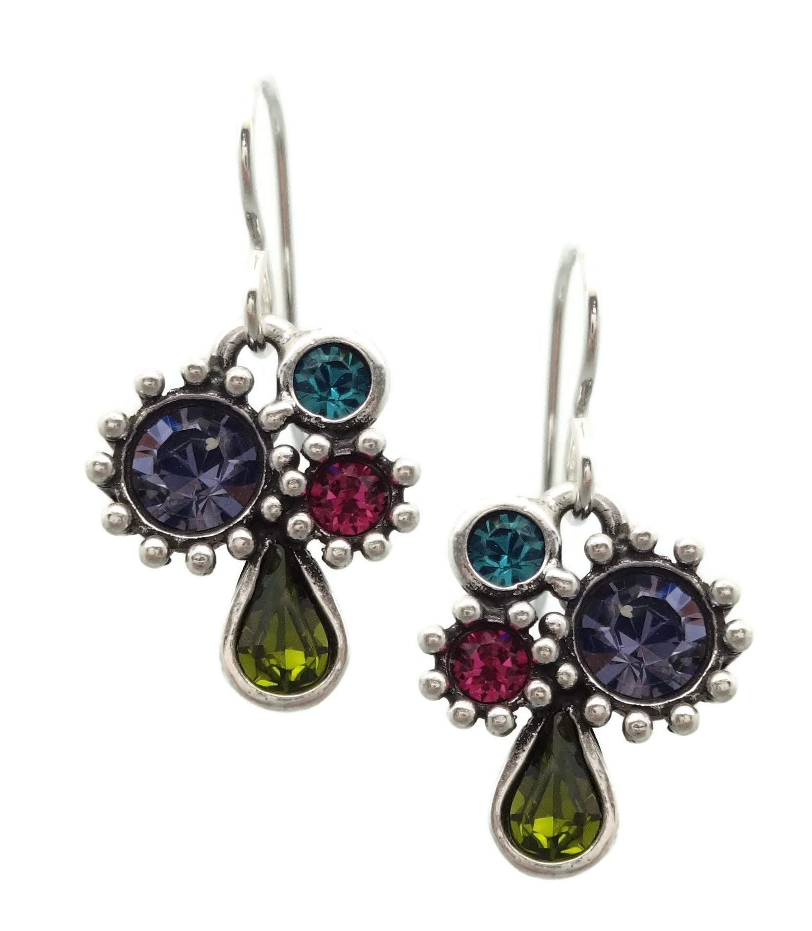 Patricia Locke Celebration Multi Color Misha Swarovski Crystal Silver Plated Hook Earrings