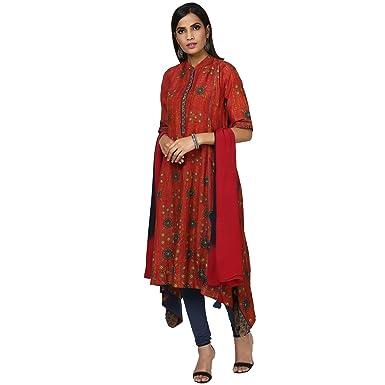 6a0e78673e Women's A Line Synthetic Salwar Suit Set (CKCVLN-100N16276907-RED_34)
