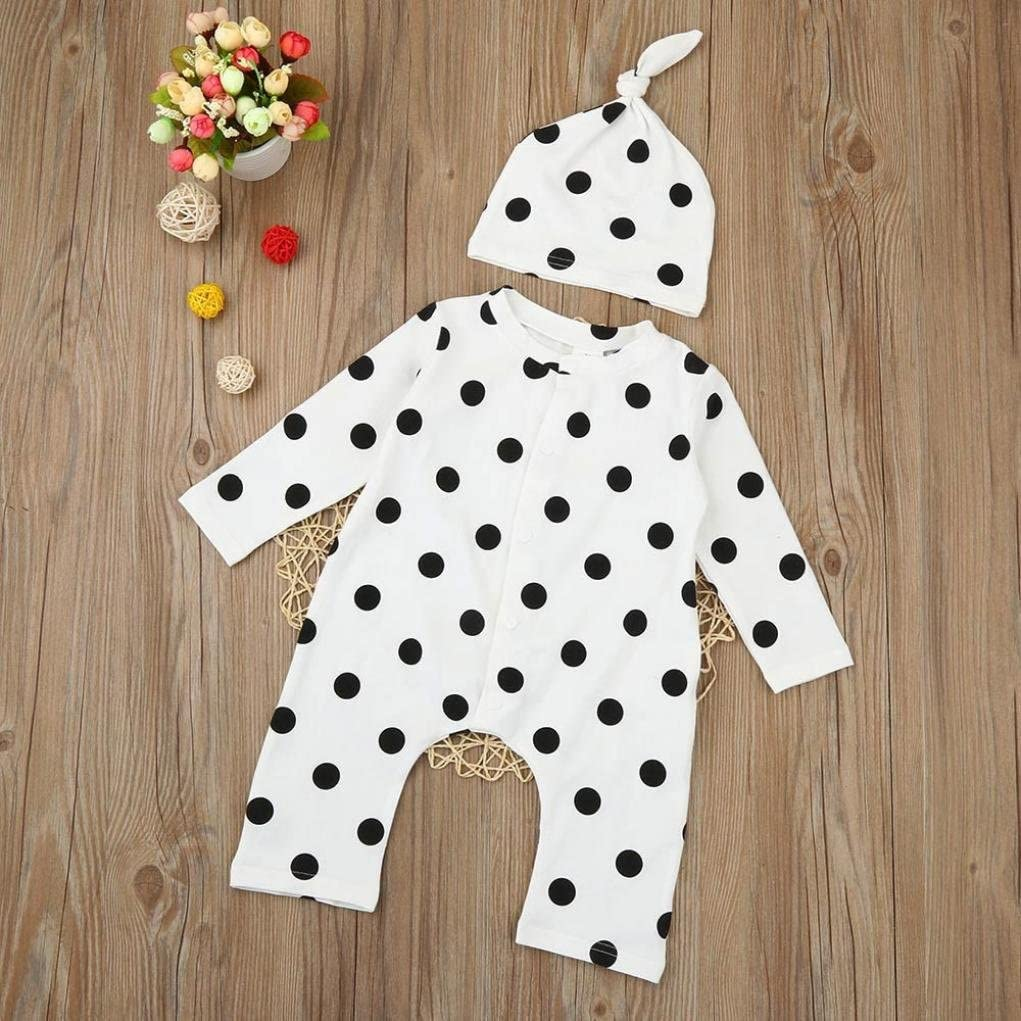 Lanhui/_Sunny Baby Boys Girls Polka Dot Romper Jumpsuit+Hat Clothes Baby Pajama
