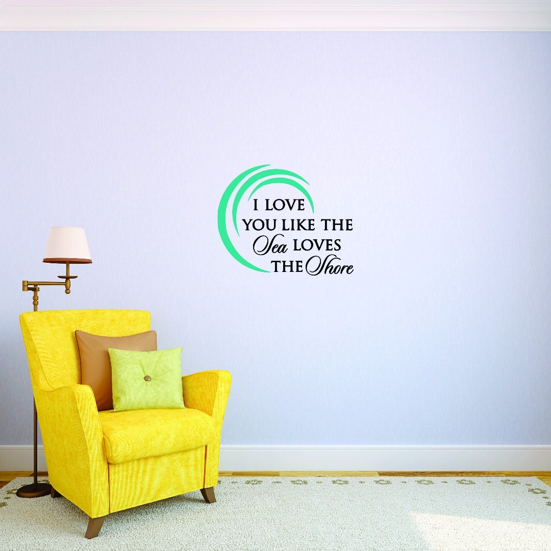 Design with Vinyl JER 1743 3 Hot New Decals Like The Sea Loves The Shore. Wall Art Size x 18 Inches Color Multi 18 x 18