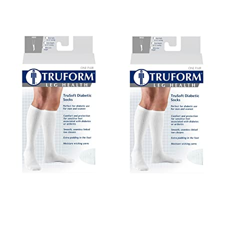 Amazon.com: Truform Compression Socks, 8-15 mmHg, Knee High, White, Medium (Pack of 2): Health & Personal Care