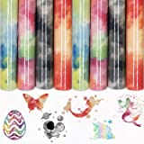 Rainbow HTV 4 Sheets 12x8.2 inch Tie dye Iron On Vinyl for T-Shirt, Fabric, Reflective Clouds Watercolor HTV Bundle DIY T-Shi
