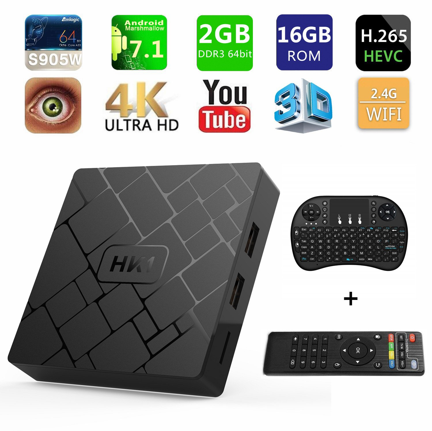[Free Wireless Keyboard] 2018 J-Deal 4K 7.1 Android TV Box, 2GB RAM 16GB ROM, Amlogic Quad Core A53 Processor 64 Bits, 2.4GHz WiFi Smart TV Box, HDMI 2.0 Output Support H.265 4K2K@ 60HZ Ultra HD