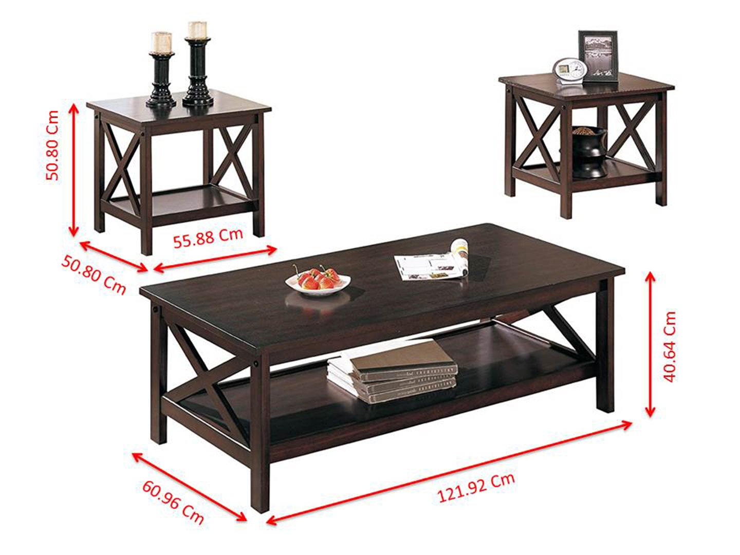 Poundex Coffee Table.Poundex 3 Piece Coffee Table Cappuccino