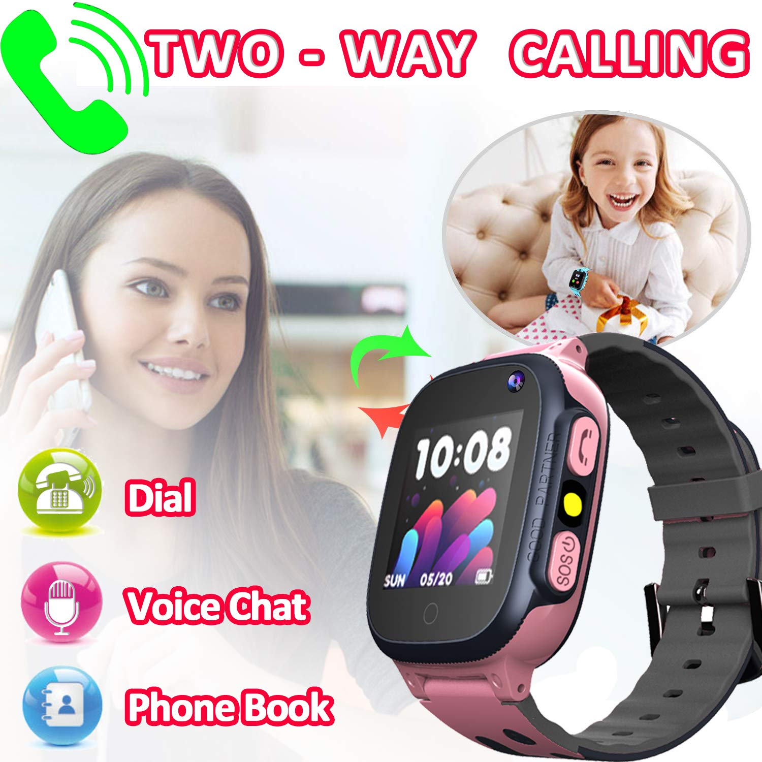 MiKin Children Smart Watches for Girls Boys Age 3-12 Kids Smartwatch Phone with GPS Tracker 2 Way Call SOS Remote Camera Touch Screen Alarm Clock Flashlight Voice Chat Gizmo Wrist Watch Android iOS by MiKin (Image #3)