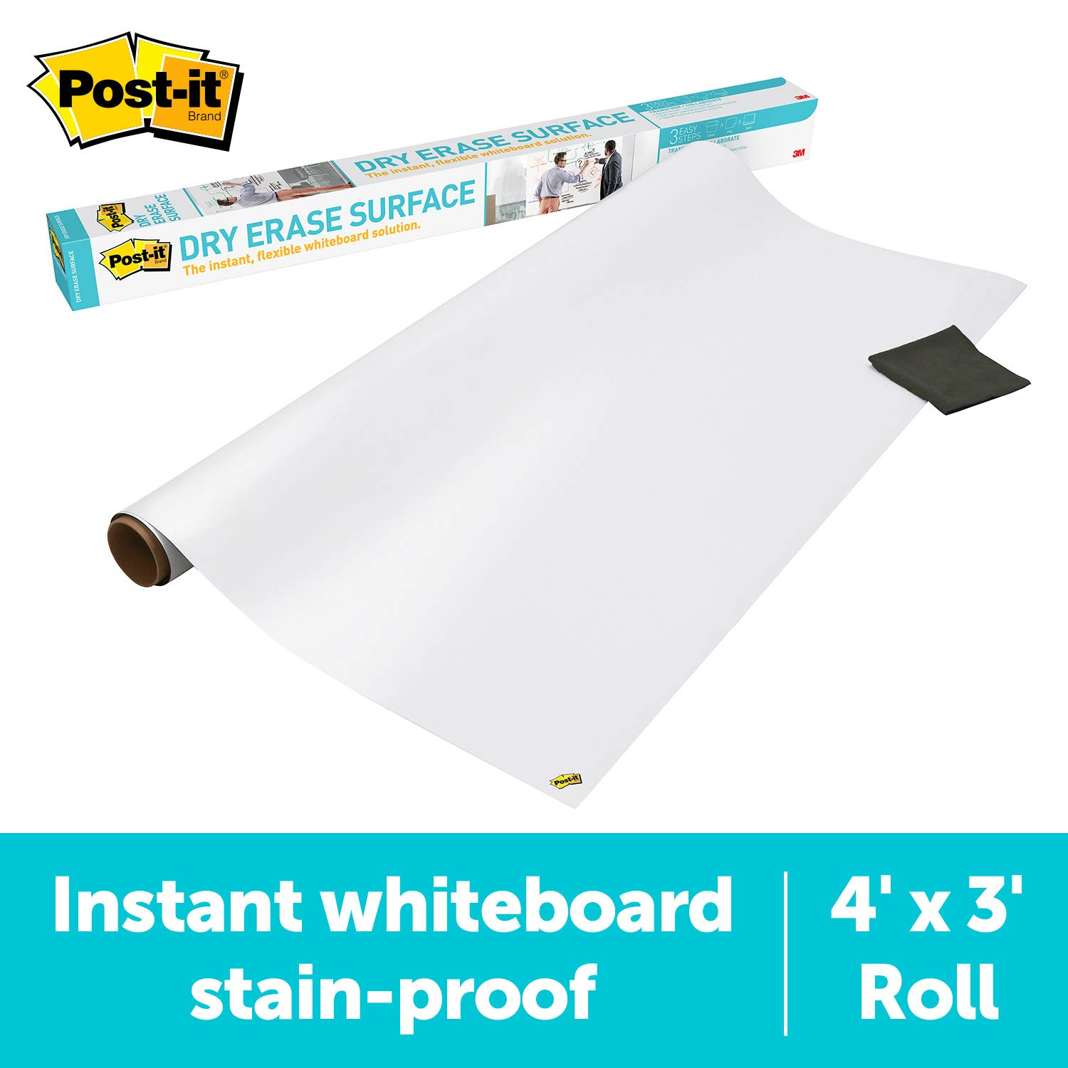 Post-it Dry Erase Surface (4 ft x 3 ft) - Great for Tables, Desks and Other Surfaces