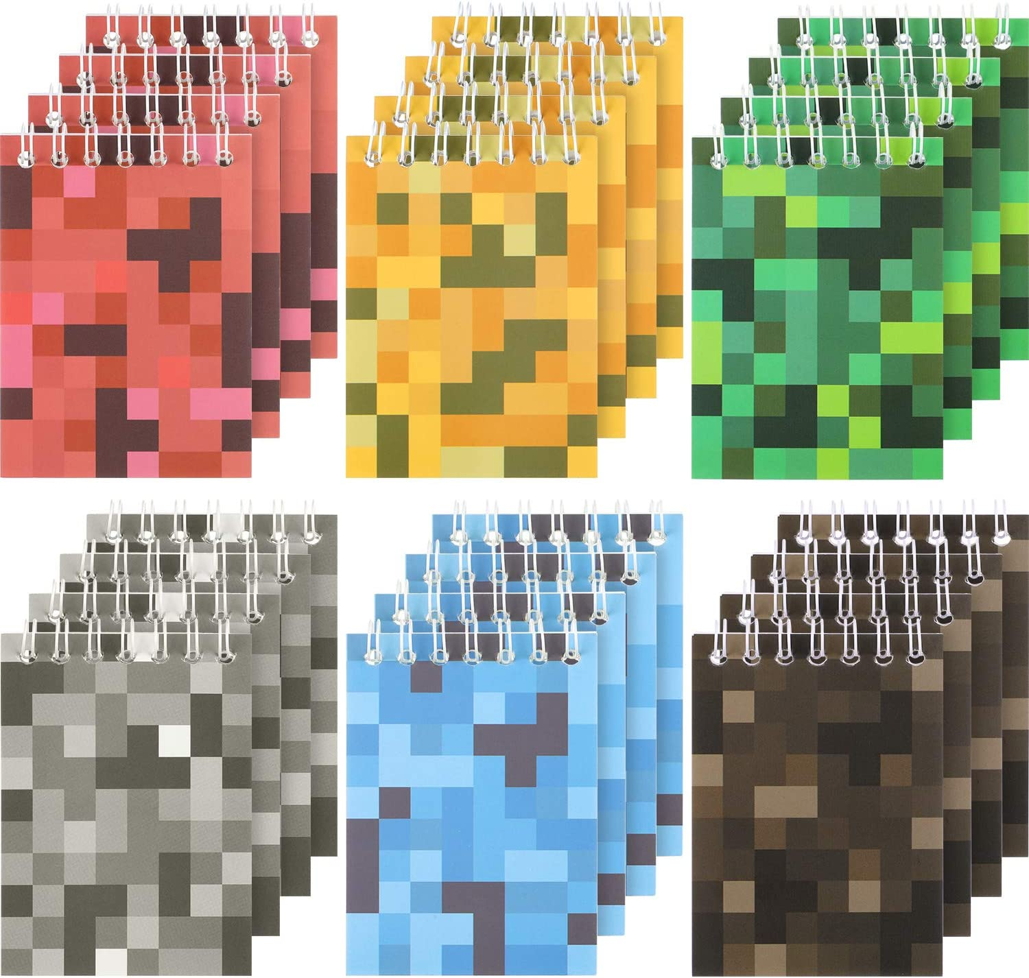 48 Pieces Mini Pixel Notepads Pixelated Spiral Notebook Miner Crafting Style Notebooks for Pixelated Party Supplies, Mining Theme Party Favors