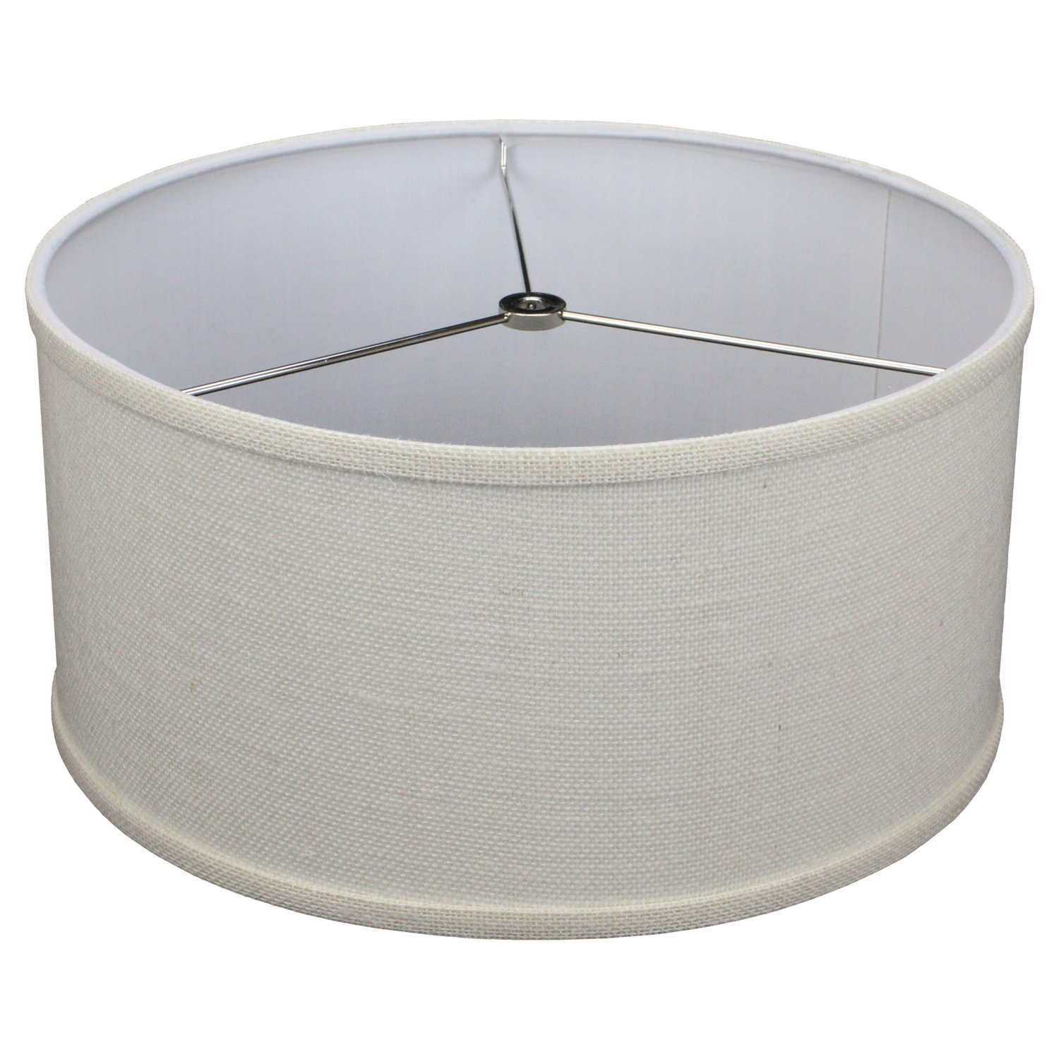 FenchelShades.com 14'' Top Diameter x 14'' Bottom Diameter 7'' Height Cylinder Drum Lampshade USA Made (Burlap Off White)