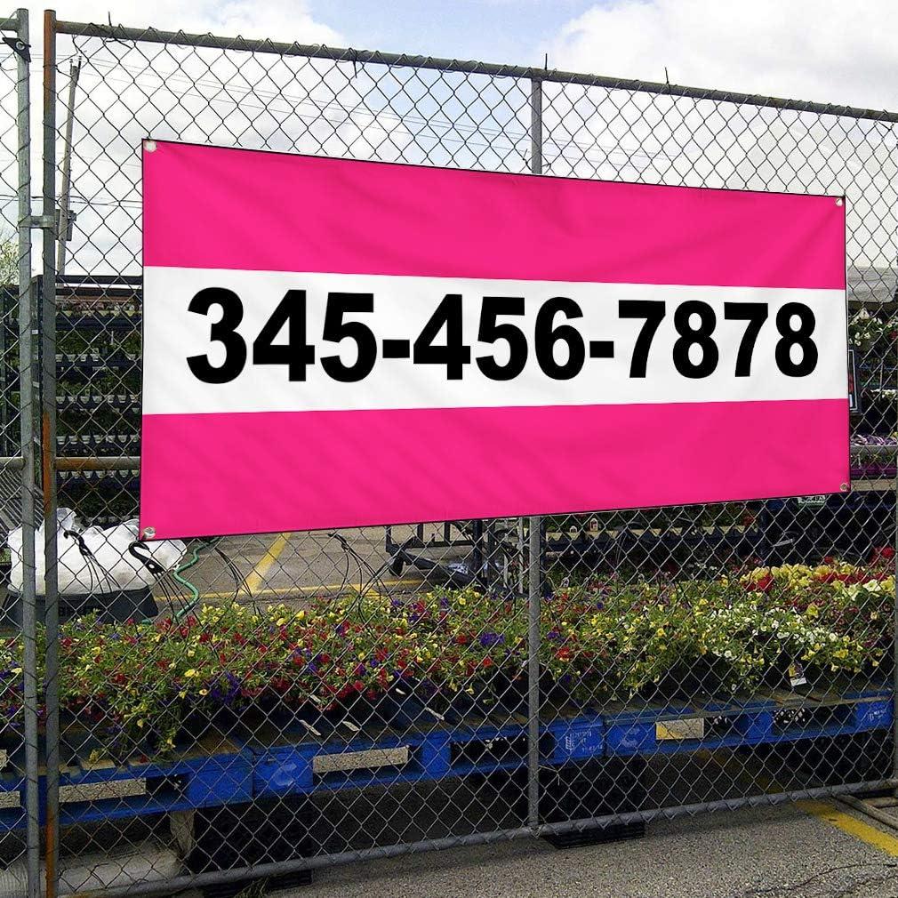 Custom Vinyl Banner Sign Multiple Sizes Phone Number Pink Business ...