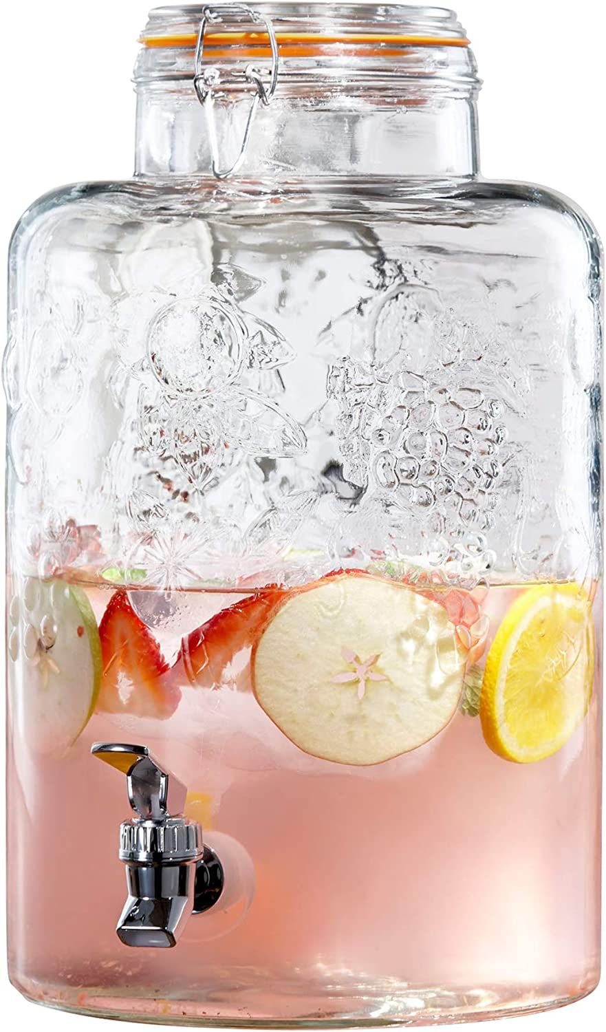 Style Setter 210261-GB Beverage Cold Drink Dispenser w 2.5-Gallon Capacity Glass Jug, Leak-Proof Acrylic Spigot in Gorgeous Gift Box for Parties, 2.5 Gallon, Vineyard Clamp Lid