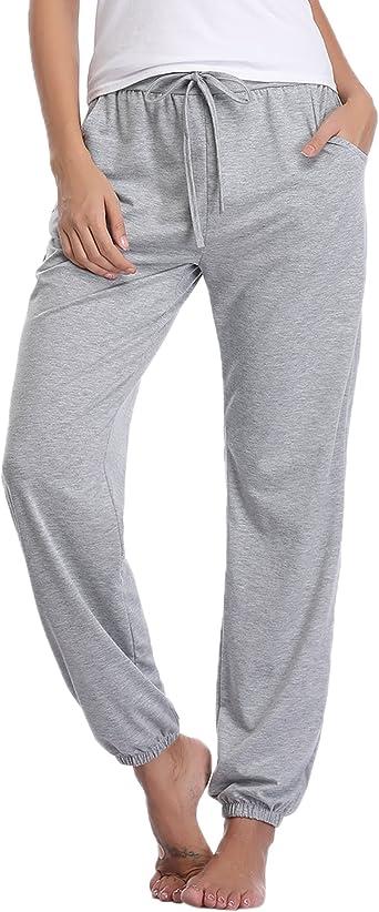 Aibrou Pantalones de Pijama Mujer 100% Algodon Pantalon Casual Largo Ropa de Dormir Suave Comodo y Suelto: Amazon.es: Ropa y accesorios
