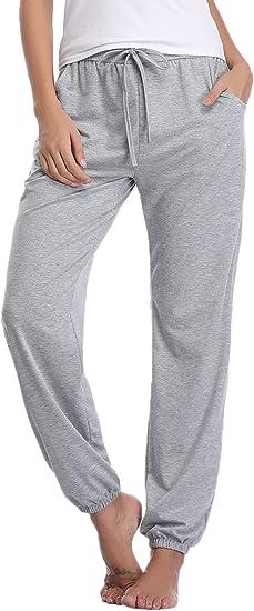 Aibrou Pantalones de Pijama Mujer 100% Algodon Pantalon Casual ...