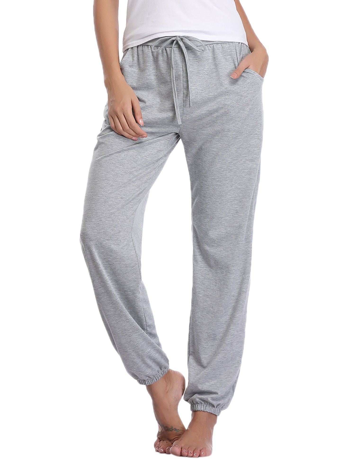 Aibrou Pajama Pants for Womens Cotton Stretch Knit Lounge Pants Bottoms