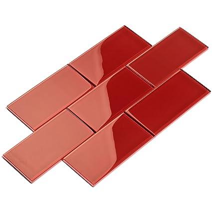Attirant Giorbello G5922 44 Glass Subway Backsplash Tile, 3 X 6, Ruby Red      Amazon.com