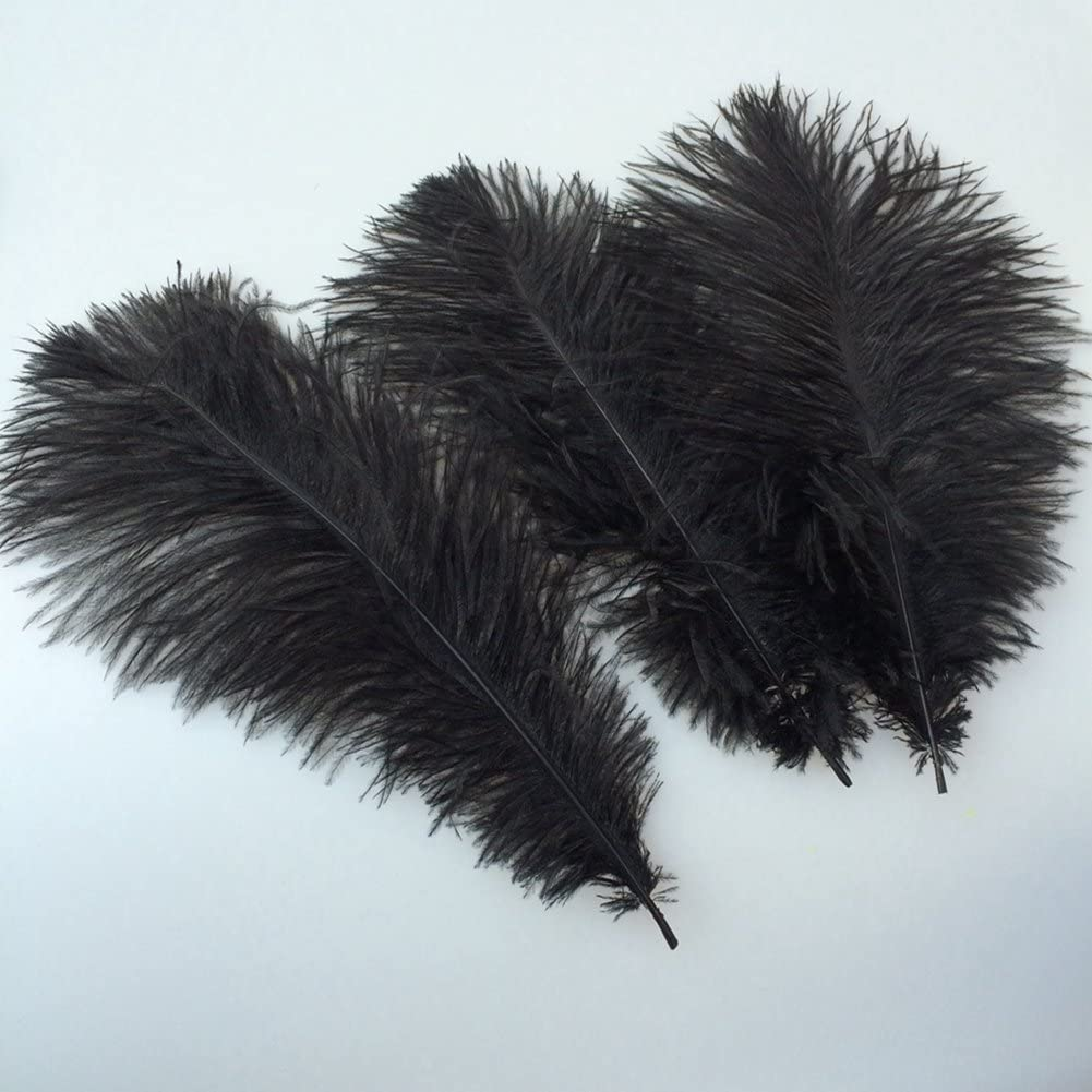 Sowder 12-14inch Natural Black Ostrich Feathers Plume for Wedding Centerpieces Home Decoration Pack of 50