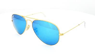 ray ban aviator golden frame  RAY BAN AVIATOR GOLD FRAME RB3025 112/17 BLUE MIRROR LENS 58MM ...