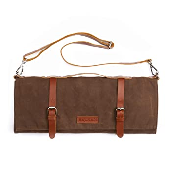 11b0549693 Image Unavailable. Image not available for. Color  Chef Knife Roll Bag -  Handmade Waxed Canvas and Leather ...