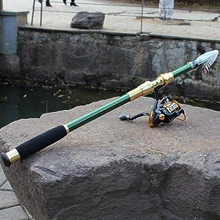 Easy Go Shopping Engins de pêche Livraison de Couleur aléatoire de la pêche portative de pôle de pêche au Carbone de 1,8 m de Carbone