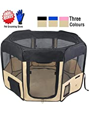 "ZuHucpts 61"" Zipper Sealed Bottom Large Indoor/Outdoor Dog Pet Playpen, Portable Foldable Puppy Cat Excise Pen Kennel Tent , Soft Folding Crate Cage House Enclosure 