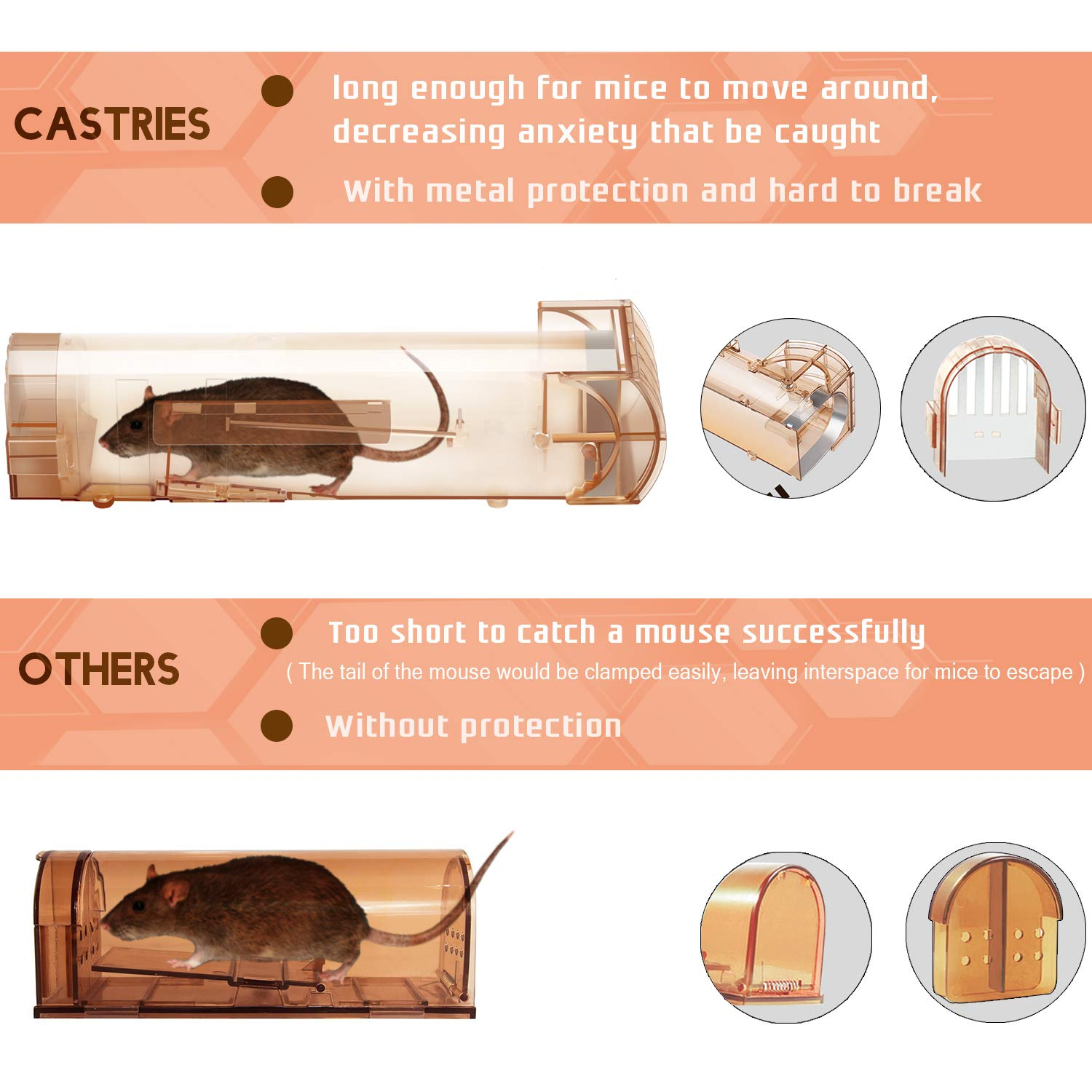 Catch and Release Trap CASTRIES Humane Mouse Trap 1 Pack Reusable Rodent Trap No Kill Plastic Mice Catcher