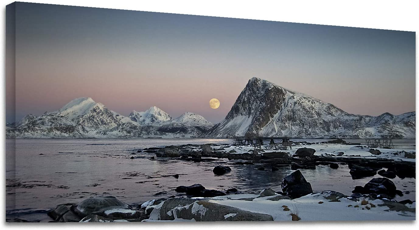 Looife Landscape Canvas Wall Art, 40x20 Inch Nordic Snow Mountain and Ice Lake Picture Prints Wall Decor for Living Room and Bedroom, Scenery Painting Wrapped Canvas Art Deco for Home