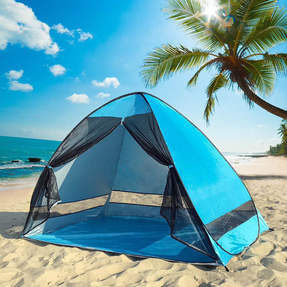 Pop Up–Refugio (–UPF 50+ Protección UV Protección solar playa sombra tienda de campaña Sun Shelter, automático playa Familia Cabana para camping Beach Fishing Garden, azul DIOSN