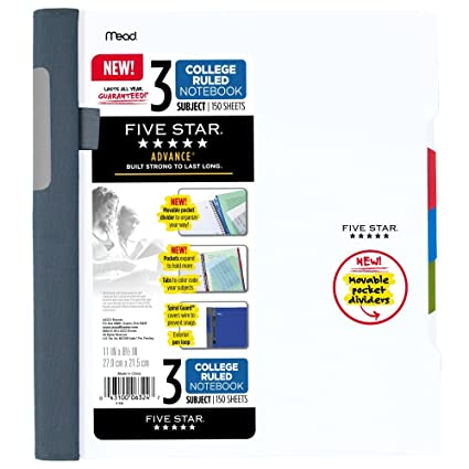 Five Star Advance Spiral Notebook, 3 Subject, College Ruled Paper, 150  Sheets, 11