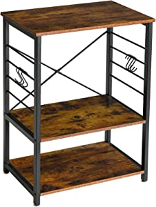 YMYNY Industrial Microwave Oven Stand, 3-Tier Kitchen Baker's Rack with Metal Frame and 6 Hooks, Multifunctional Coffee Bar for Living Room Decoration, Rustic Brown UTMJ022H