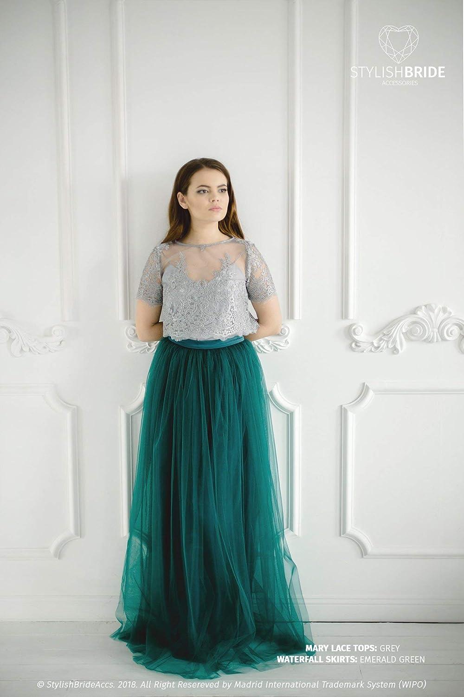 Amazon.com: Mary Emerald Green Pistachio Lace Dress, Long ...