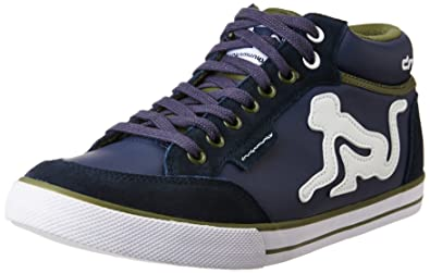 Drunknmunky Unisex Boston Classic Mid Navy Blue and Military Green Sneakers  - 10 UK India 7d9ea104d3a