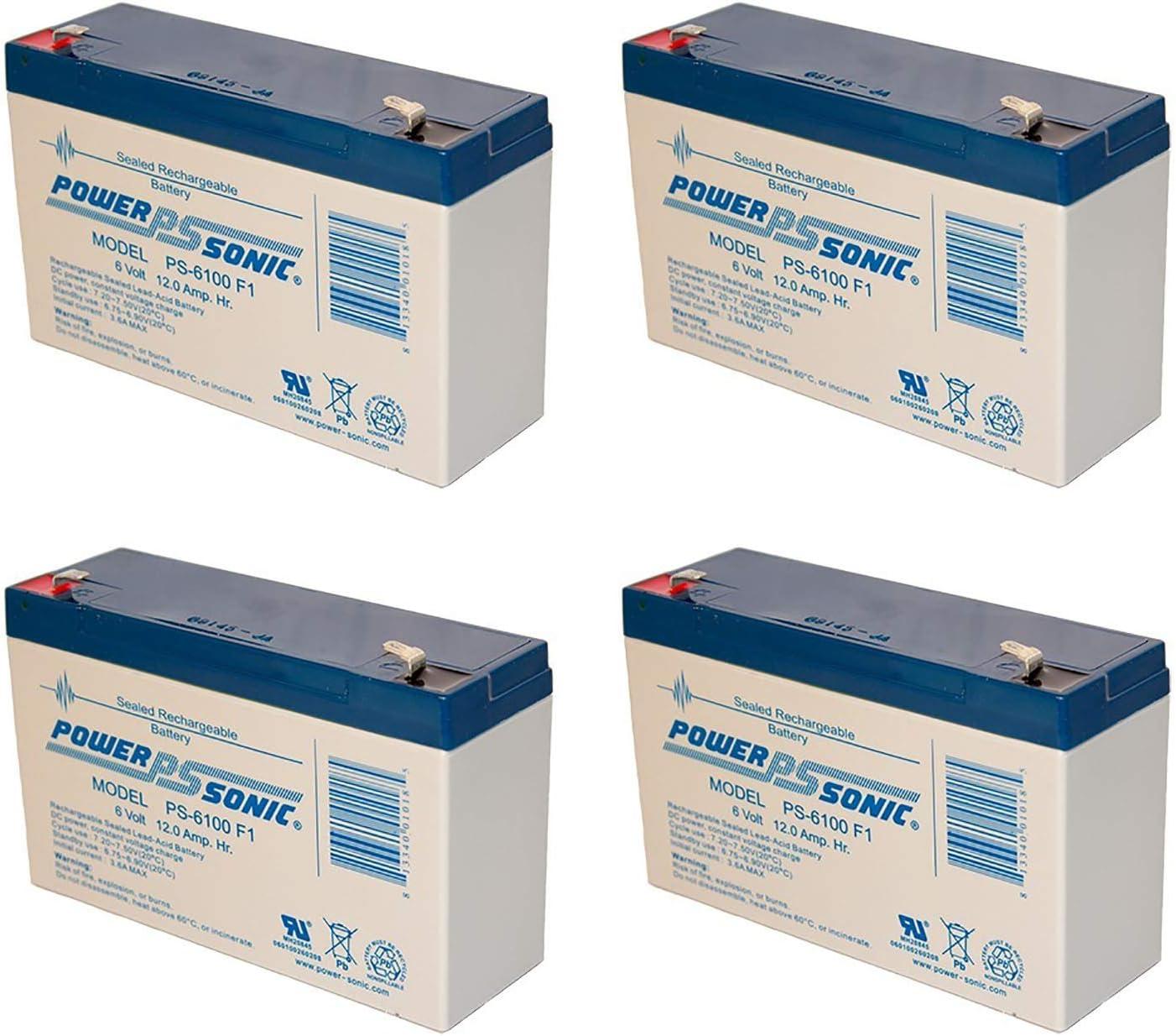 4 Pack Power Sonic PS-6100 6V 12AH SLA UPS Battery for Tripp Lite BC600 LAN