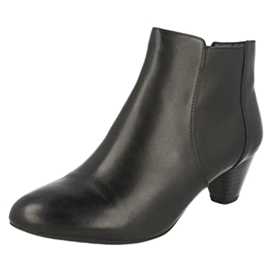 Clarks Women's Tapered Heel Chelsea Boots Denny Diva Black Leather