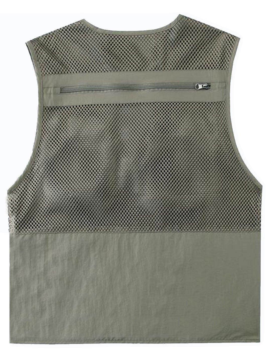 Zhusheng Men's Mesh 16 Pockets Photography Fishing Travel Outdoor Quick Dry Vest Breathable Waistcoat Jackets (XX-Large, Light Khaki) by Zhusheng (Image #6)