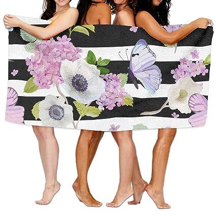 Toallas de baño, toalla de baño con estampado floral, supersuave, ultra absorbente,