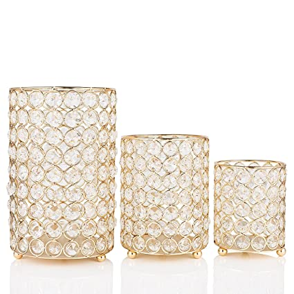 Amazon Qf Candle Holders Table Decorative Gold Cylinder Vase