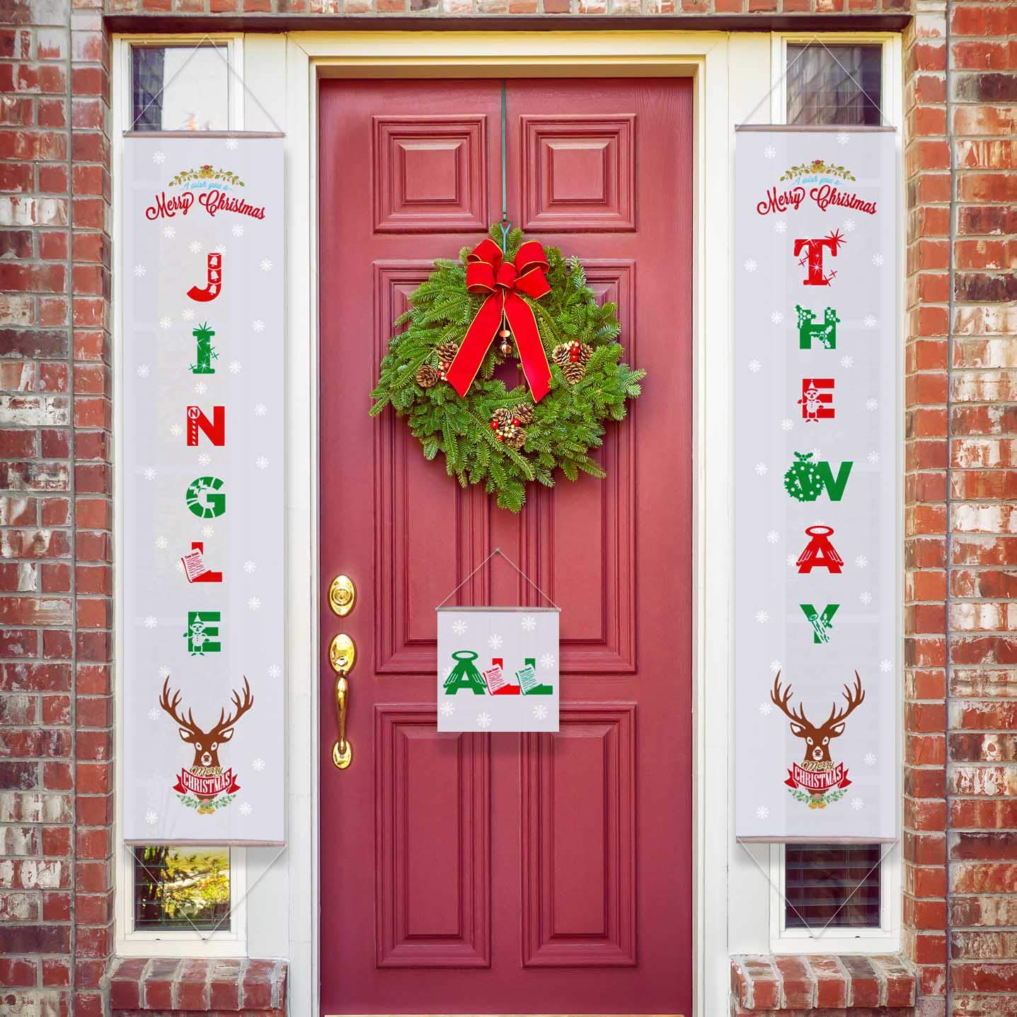 Outside Christmas Decorations.Kay M Jingle All The Way Large Christmas Decorations Merry Christmas Banner Front Door Fireplace Mantle Decor Outside Christmas Decoration