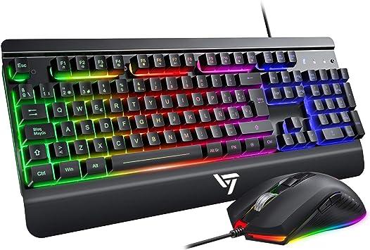 VicTsing Teclado Gaming LED, Teclado y Ratón para Juegos con Cable ...