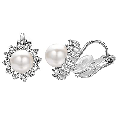 EVBEA Vintage Black Faux Pearl Clip on Earring Fashion Crystal Diamond Flower Earrings for Women with Gift Box¡ NamnMWO