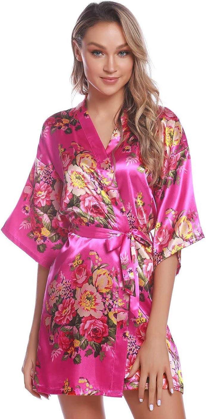 Aiboria Womens Floral Satin Bride Bridesmaids Robes Wedding Bridal Party Kimono Robes Sleepwear