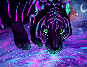 DIY 5D Diamond Painting by Number Kits, Full Drill Crystal Rhinestone Embroidery Pictures Arts Craft for Home Wall Decoration Purple Tiger 15.7×11.8Inch