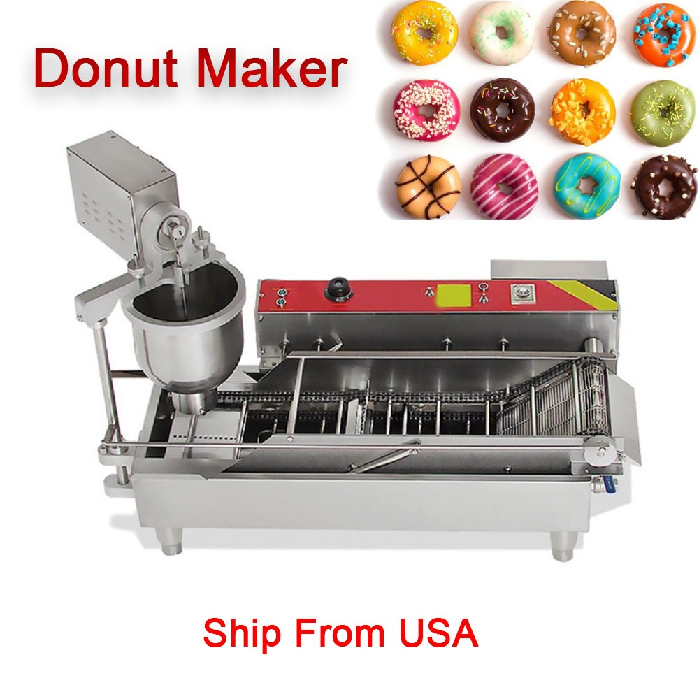 Automatic Donut Making Machine denshine Commercial Electric Doughnut Donut Maker 3 Sizes Moulds Auto Donuts, Molding, Frying, Turning, Collecting Machine Automatic Temperature Control(7L)