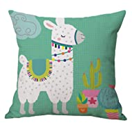 Geepro 18 inch Llama Cactus Decorative Throw Pillow Covers Linen Cotton Animal Print Cushion Cover (Teal)