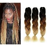 Fancy Look Hair Jumbo Braid Hair 3pcs/lot Synthetic Expressions Hair Extensions Cheap Braiding Hair Extensions (Black/D-Brown/L-Brown)