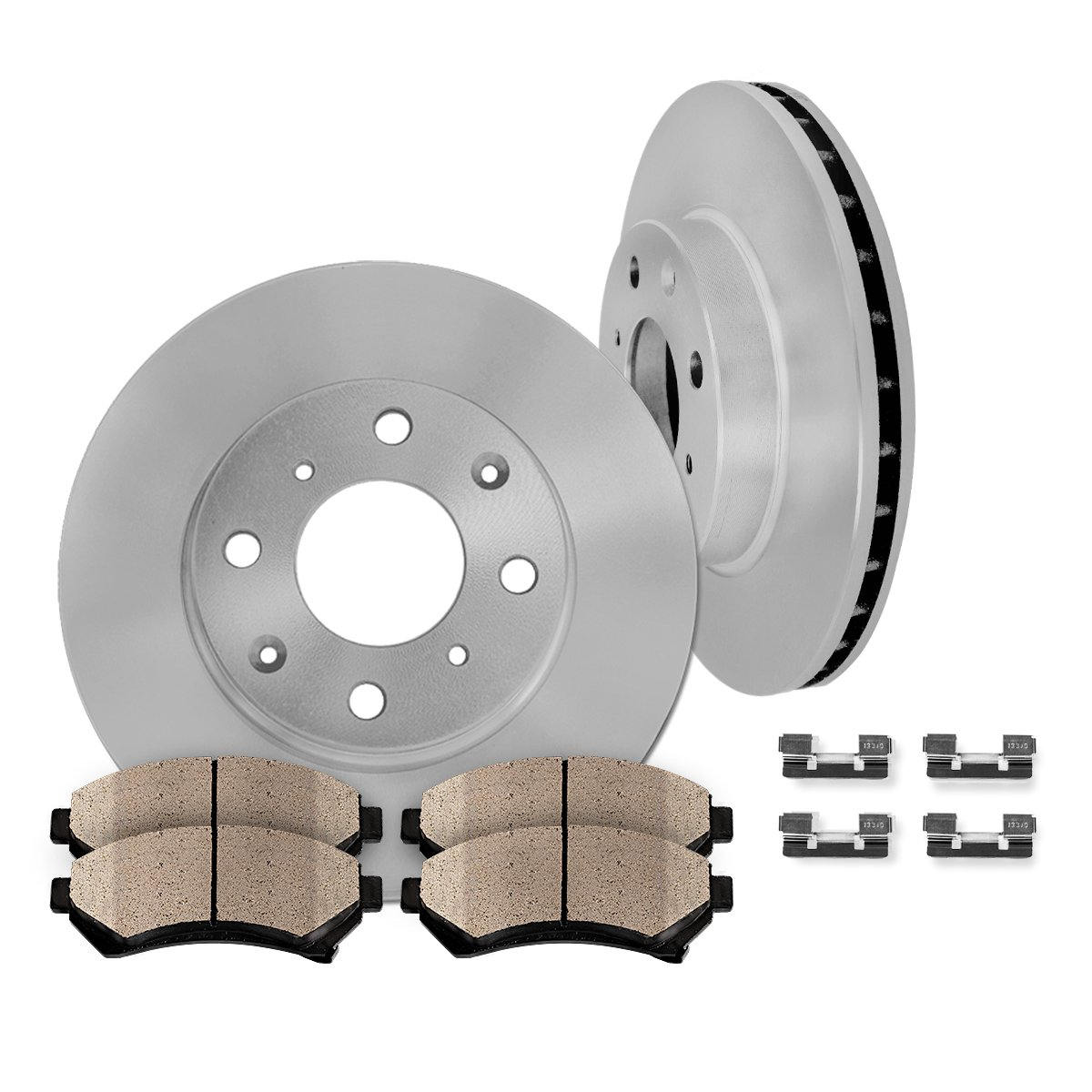 FRONT 255 mm Premium OE 4 Lug [2] Brake Disc Rotors + [4] Ceramic Brake Pads + Clips by Callahan Brake Parts