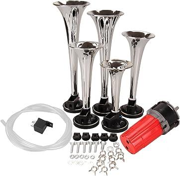 HH Limited Honhill 5 Trumpet Black Musical Air Horn La Cucaracha 12V 125db with Compressor Kit for Car Trucks Van Boat