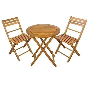 SSITG Salon de jardin 3 pièces, Set de balcon pliable, 1 ...
