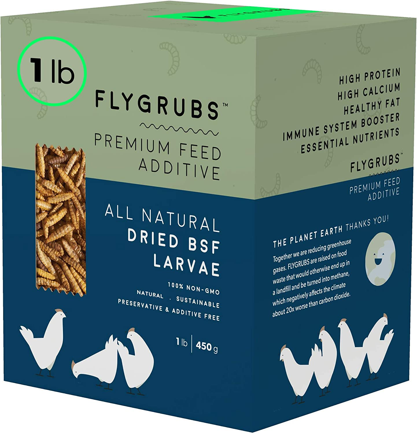 FLYGRUBS Superior to Dried Mealworms for Chickens (1 lb) - 85X More Calcium Than Meal Worms - Non-GMO Chicken Feed Additive & Molting Supplement - BSFL Treats for Hens, Ducks, Wild Birds